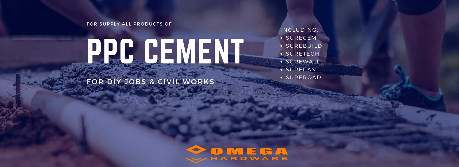 PPC cement supplier, local cement supplier, cement for building sites, cement for road building, Omega Gansbaai, Omega Hardware