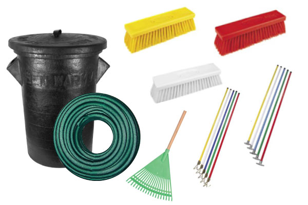 brooms, brushes, rakes, garden hose, dustbins