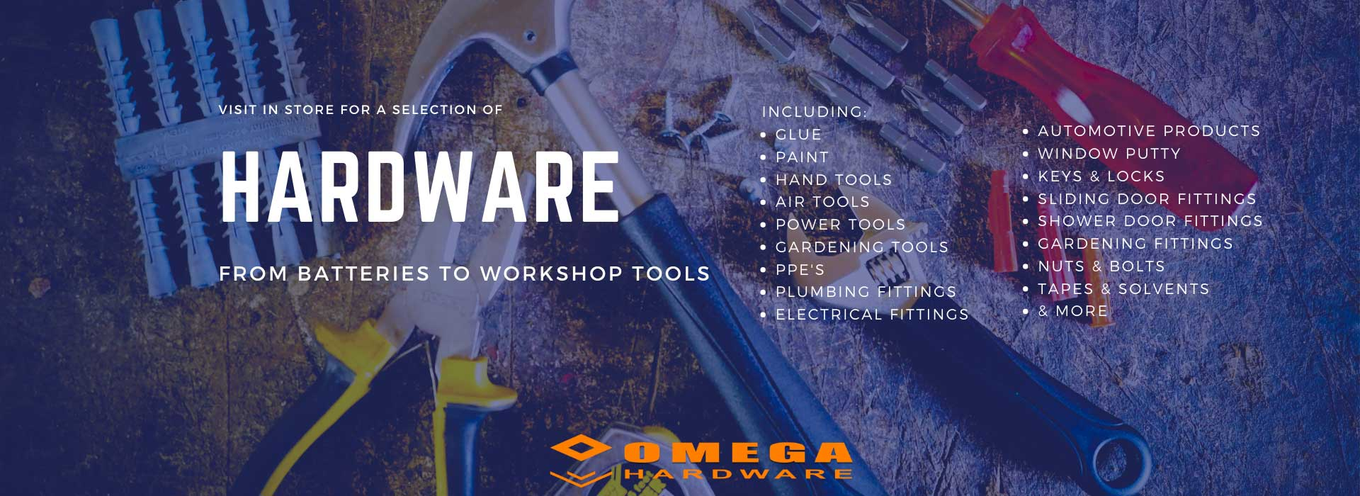 local hardware store, Gansbaai hardware stores, hardware store Overberg, tool supplier, toolboxes and tools, DIY equipment, Omega Gansbaai, Omega Hardware
